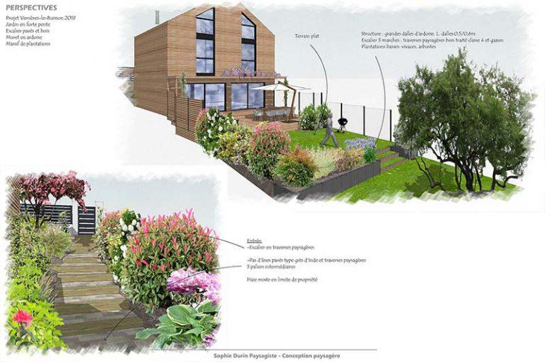 Croquis jardin en pente Sophie Durin Paysagiste